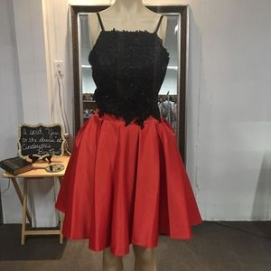 Dave & Johnny 2 Piece Prom Dress. Black and Red